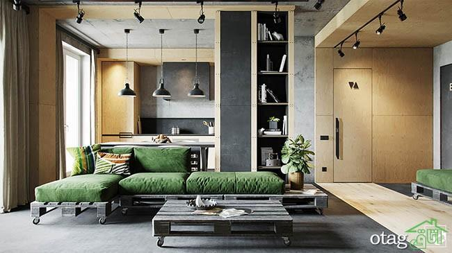 طراحی داخلی منزل شیک 72 متری با تزیینات چوبی و بتن اکسپوز