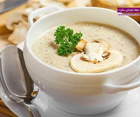 طرز تهیه سوپ قارچ با سس سفید